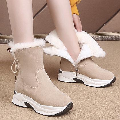 Leathe / Casual Lace-Up Platform Ankle Boots