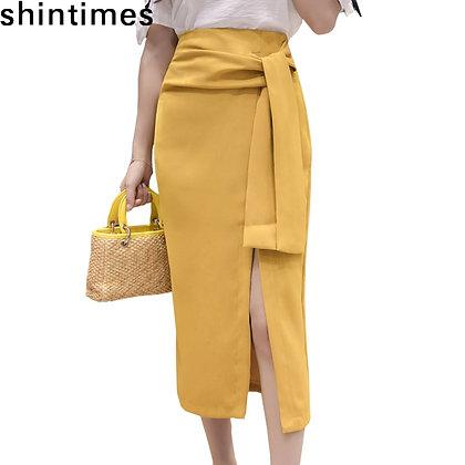 Shintimes - Split Bodycon High Waist Pencil Skirt