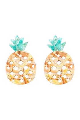 Resin Pineapple Post Stud Earrings