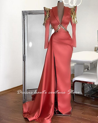 Gorgeous Long Sleeve High Slit Beaded Formal Evening Party Dress