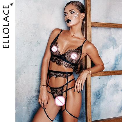 Ellolace Sexy Lace Lingerie Women Underwear 3 Piece Set See Through