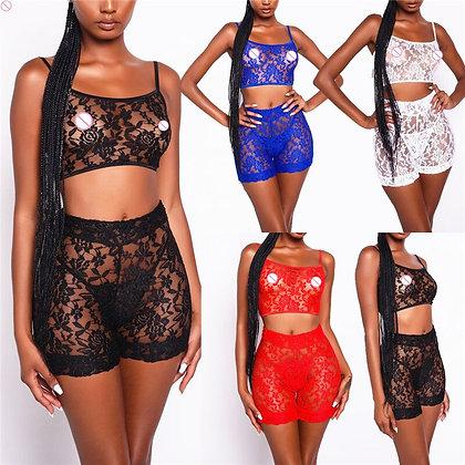 New Sexy Lingerie Stripper Clothes Women 2 Pieces Set Micro Bikini Lace Suit