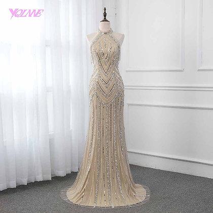 YQLNNE - Elegant Champagne Crystals Evening Dress