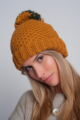 Textured Knitted Hat With Yarn Pom in Mustard