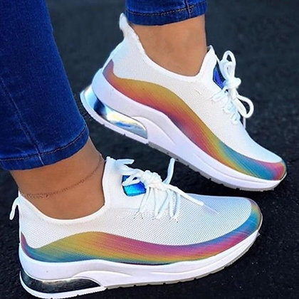 Colorful Cool Lace Up Flat Comfort Walking Shoes