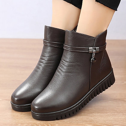 Ankle Boots / Warm Plush Wedge Boots / Casual Shoes Non-Slip Waterproof Leather