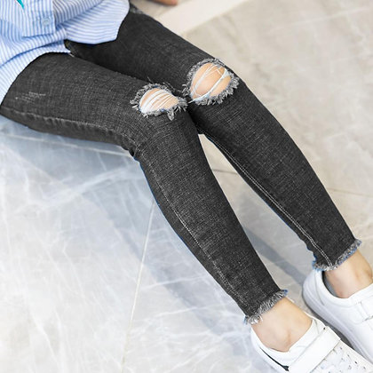 Hot Sale Girls Jeans Hole Ripped Jeans for Kids Korean Denim Pants /Black