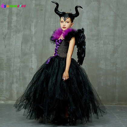 Kids Maleficent Evil Queen Girls Halloween Fancy Tutu Dress Costume
