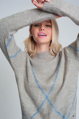 Knitted Jumper With Front Stripes in Grey