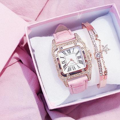 Starry Square Dial Bracelet & Watch Set