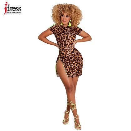 IDress / Leopard Print - Irregular Short Sleeve Night Club / Fancy-Dress
