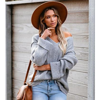 Roll Sleeve v Neck Jumper - Sweaters Knitwear
