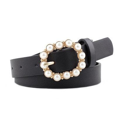 Pearl Decorative Round Pin Buckle Belts @Googoostore / PU Leather