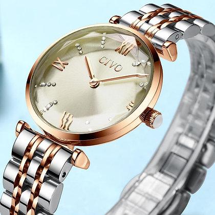 Brand Rose Gold Steel Strap Waterproof Women's Watch