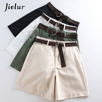 Jielur - 4 Solid Colour Casual High Waist Slim Shorts  / S-XXL