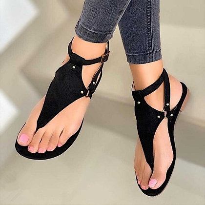 Gladiator Black Open Toe Beach Sandals - Roman Buckle Strap