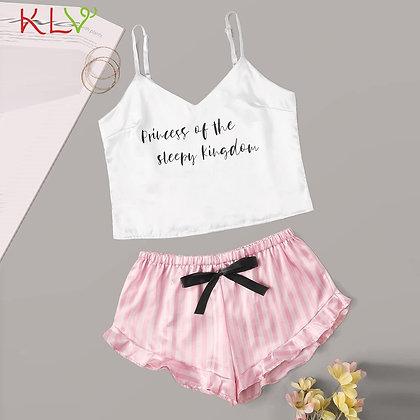 Pyjamas / Lingerie Satin Sleepwear Crop Top Cami Bow Shorts Two Piece Set