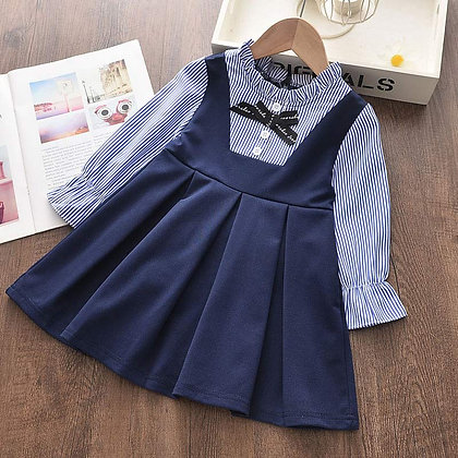 Bear Leader Girls Dresses / Baby Girl Dress - Striped With Bow Long Sleeves