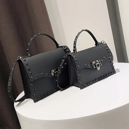 Jelly Bags / Solid Flap Fashion Messenger Bag Rivet Women Shoulde Handbag