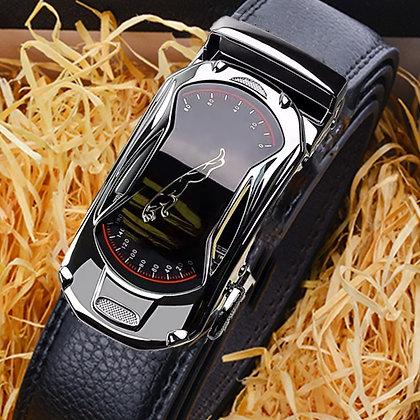 Leather 3.5cm Width Sports Car Brand Automatic Buckle Belt