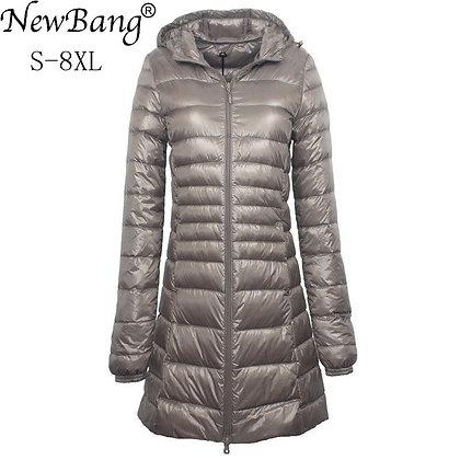 NewBang 7XL 8XL Plus Long Down Jacket Women Winter Ultra Light Down Jacket
