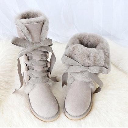 Genuine Sheepskin Leather Flat Knee Boots