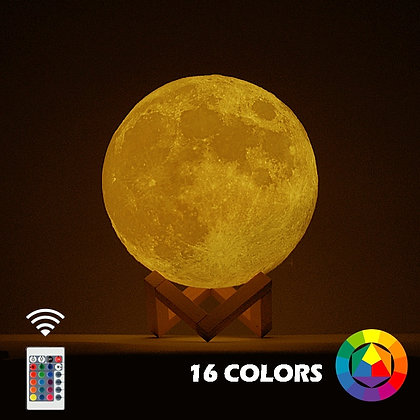 New Dropship  3D Print Moon Lamp Colorful Change Touch Usb Led Night Light