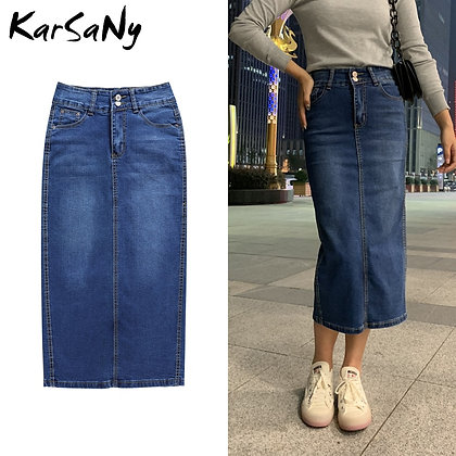 KarSaNy - Straight Vintage Denim Long Skirts