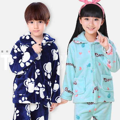 Kids Pijamas Flannel Sleepwear Girls Boys Coral Fleece Kids Pajamas Sets 3-13