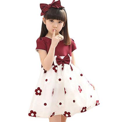 Floral Dress /Mesh Dress Bow Kids Clothes Children's Dress Spring Teen Girls