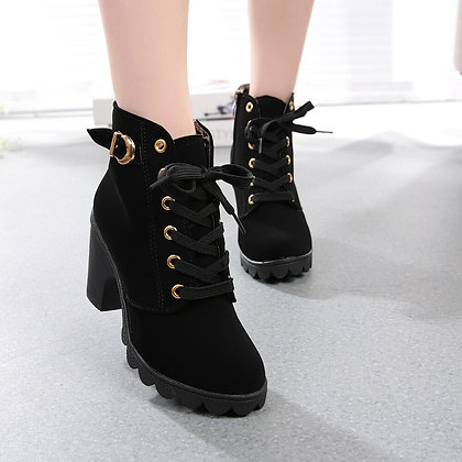 High Heel Lace Up Ankle Boots / Buckle Platform Boots / Leather