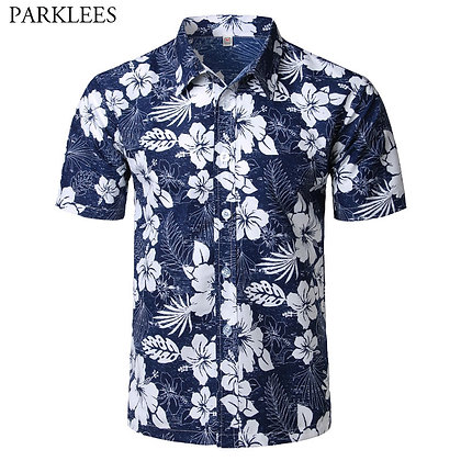 Mens Summer Fashion Beach Hawaiian Shirt / Slim Fit Short Sleeve Floral Shirt