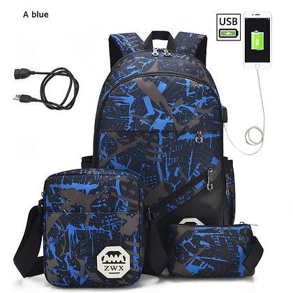 3pcs/Set USB Backpacks High School Bags  / Travel Bags
