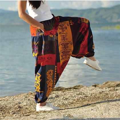 Baggy Harem Loose Trousers - Aladdin Lantern Wide Leg Satin Pants