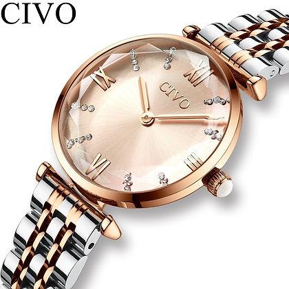CIVO - Waterproof Rose Gold Steel Strap Ladies Wrist Watches