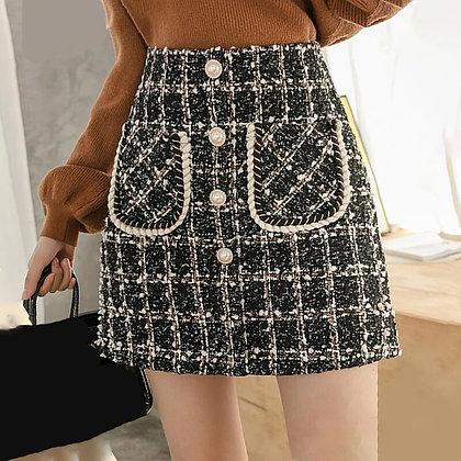 Tweed Plaid Wool High Waist Elegant Skirt