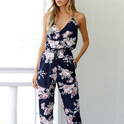 Clubwear Loose Party Jumpsuits / Floral Printed Backless Sling Romper