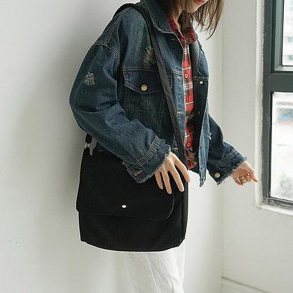Canvas Bag Simple Cotton / Casual Tote /Foldable Soft Zipper Shoulder Bag