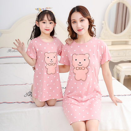 Mother Daughter Dresses Summer Cotton Family Matching Outfit Cartoon Dress