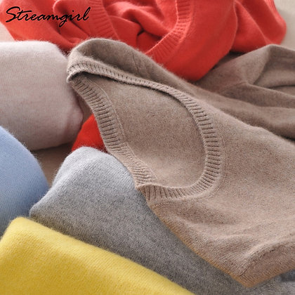 Cashmere Knitted Pullover / Plus Size O-Neck Jumper