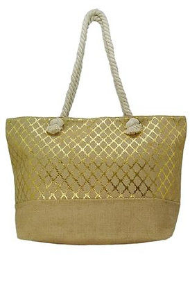 Beach Tote Bag - Diamond Quatrefoil