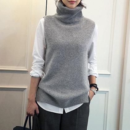 DSANNIGNT 2020 Autumn Winter Cashmere Vest Women Turn-Down Collar Sleeveless