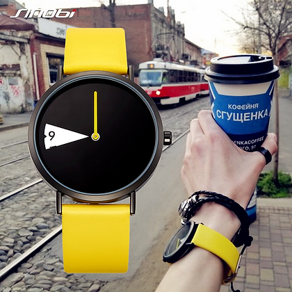 Sinobi - Hot Creative Wrist Watch / Yellow Leather