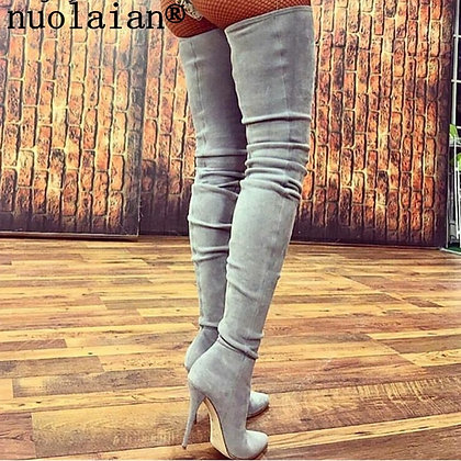 10.5CM High Heel Leather Thigh High Boots