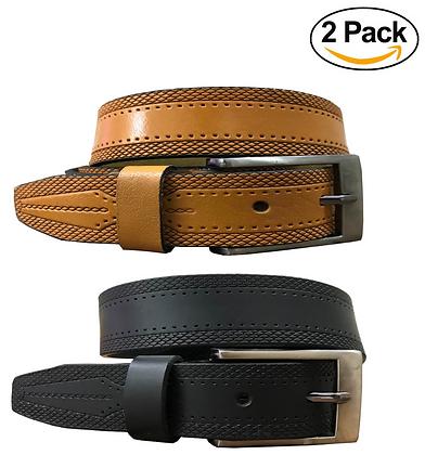 Black & Tan Brown (Set of 2 Belts) Twin Pack Full Leather Formal Belt
