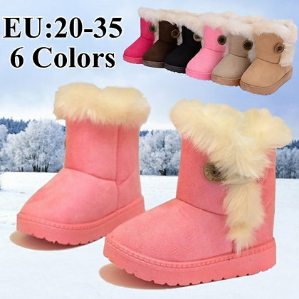 Cotton-Padded Suede Buckle Kid's Boots /6 Colors (Size 21-35)