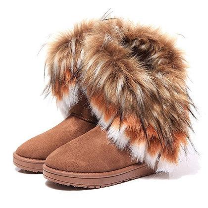 Women Fur Boots LaSlip on Female Flock Snow Boot Ladies Shoes