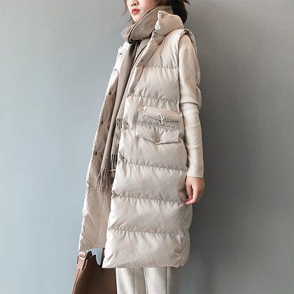 Winter Long Sleeveless Vest Coats Women Stand Neck Slim Cotton Padded Jacket