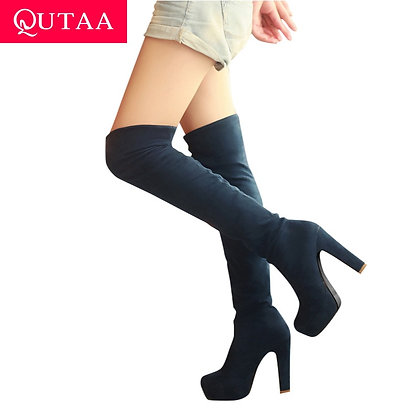 Over the Knee Square Heel Platform Boots / Size 34-43