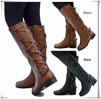 Knee-High Buckle Strap Cross Tie Boots / Waterproof